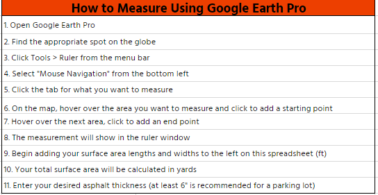 Google Earth for Asphalt Calculator