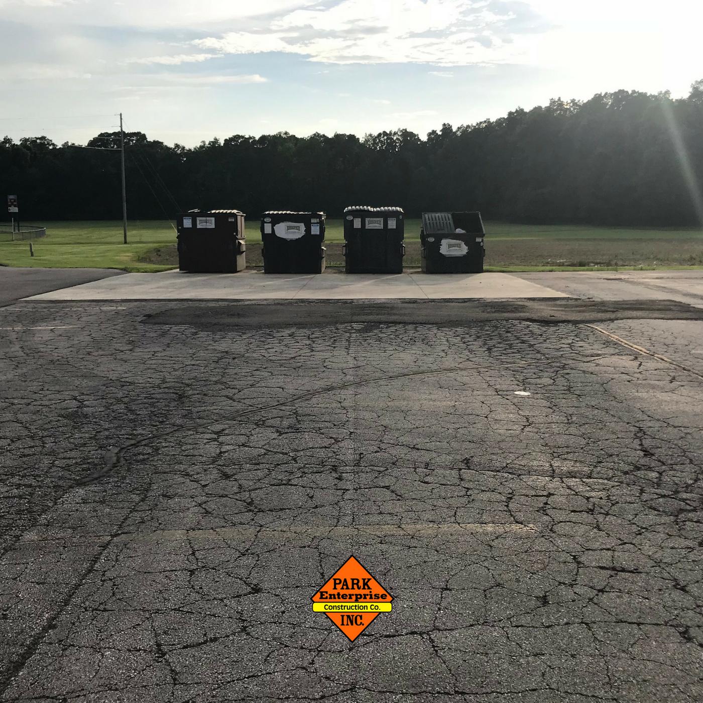 Park -- dumpster asphalt damage -- blog image